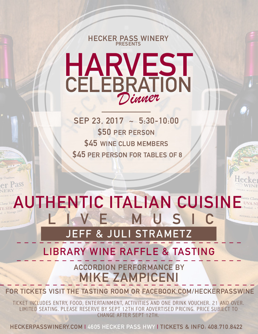 Annual Harvest Dinner date announced!